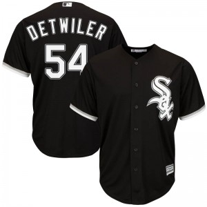 Youth Majestic Ross Detwiler Chicago White Sox Replica Black Cool Base Alternate Jersey