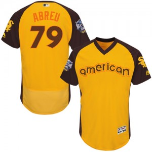 Men's Majestic Jose Abreu Chicago White Sox Authentic Yellow 2016 All-Star American League BP Collection Flex Base Jersey