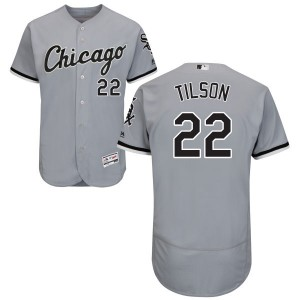 Men's Majestic Charlie Tilson Chicago White Sox Authentic Gray Road Flex Base Collection Jersey